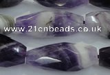 CNG372 15.5 inches 16*35mm faceted nuggets amethyst beads