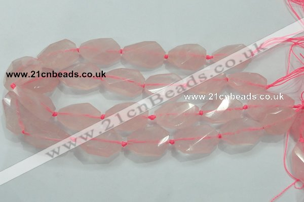 CNG480 15.5 inches 20*30mm twisted & faceted nuggets rose quartz beads