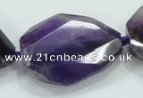 CNG484 15.5 inches 28*35mm twisted & faceted nuggets amethyst beads