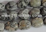 CNG557 15.5 inches 10*14mm nuggets grey picture jasper beads