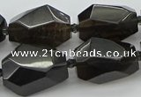 CNG5735 12*16mm - 15*25mm faceted nuggets ice black obsidian beads