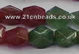 CNG5851 14*15mm faceted nuggets mixed strawberry quartz beads