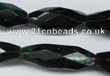 CNG593 13*30mm - 14*35mm faceted rice African prase jasper nugget beads