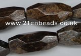 CNG599 13*28mm - 15*34mm faceted rice bronzite nugget beads
