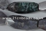 CNG600 13*28mm - 14*34mm faceted rice Indian agate nugget beads
