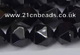 CNG6025 15.5 inches 12mm faceted nuggets black agate beads