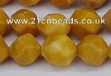 CNG6045 15.5 inches 12mm faceted nuggets yellow jade beads
