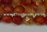 CNG6087 15.5 inches 8mm faceted nuggets red agate beads