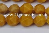 CNG6115 15.5 inches 8mm faceted nuggets yellow jade beads