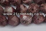 CNG6125 15.5 inches 8mm faceted nuggets red artistic jasper beads