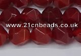 CNG6159 15.5 inches 10mm faceted nuggets red agate beads