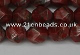 CNG6198 15.5 inches 10mm faceted nuggets brecciated jasper beads