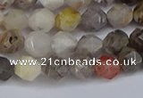 CNG6221 15.5 inches 6mm faceted nuggets silver needle agate beads