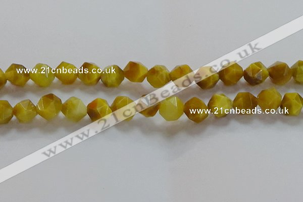 CNG6533 15.5 inches 12mm faceted nuggets golden tiger eye beads