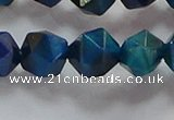 CNG6541 15.5 inches 12mm faceted nuggets blue tiger eye beads