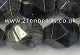 CNG6958 12*16mm - 13*18mm faceted nuggets black rutilated quartz beads