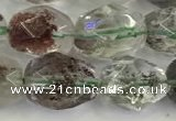 CNG6961 10*12mm - 10*14mm faceted nuggets green phantom quartz beads