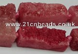 CNG7015 15.5 inches 10*28mm - 12*30mm freeform druzy agate beads