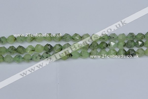 CNG7241 15.5 inches 8mm faceted nuggets green rutilated quartz beads