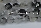 CNG7245 15.5 inches 6mm faceted nuggets black rutilated quartz beads