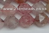 CNG7258 15.5 inches 12mm faceted nuggets strawberry quartz beads