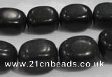 CNG726 15.5 inches 15*20mm nuggets black stone beads wholesale