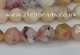 CNG7300 15.5 inches 6mm faceted nuggets pink opal gemstone beads