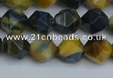 CNG7312 15.5 inches 10mm faceted nuggets golden & blue tiger eye beads