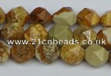 CNG7376 15.5 inches 8mm faceted nuggets picture jasper beads