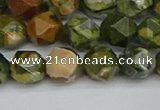 CNG7396 15.5 inches 8mm faceted nuggets rhyolite gemstone beads