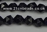 CNG7406 15.5 inches 8mm faceted nuggets blue goldstone beads