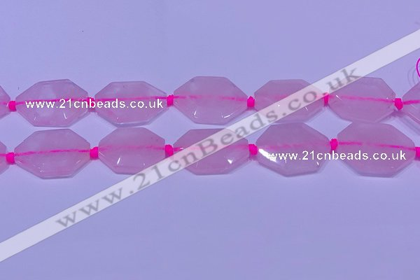 CNG7510 15.5 inches 25*35mm - 30*40mm faceted freeform rose quartz beads