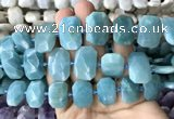 CNG7770 13*18mm - 15*25mm faceted freeform amazonite beads