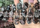 CNG7772 13*18mm - 15*25mm faceted freeform red snowflake obsidian beads