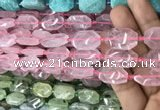 CNG7801 13*18mm - 18*25mm faceted freeform rose quartz beads