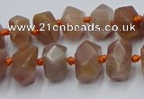 CNG7854 15.5 inches 6*10mm - 8*12mm faceted nuggets sunstone beads