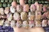 CNG7888 13*18mm - 15*25mm faceted freeform rhodonite beads