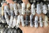 CNG7907 10*25mm - 12*45mm faceted nuggets white opal graduated beads