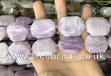 CNG7914 22*30mm - 25*35mm faceted freeform kunzite beads