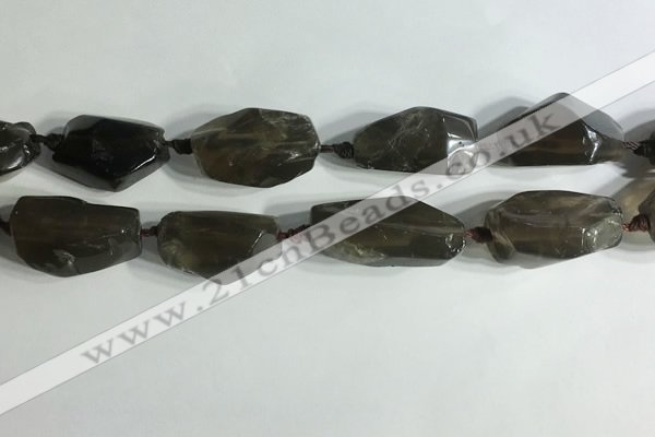 CNG7955 15.5 inches 15*25mm - 20*40mm nuggets smoky quartz beads