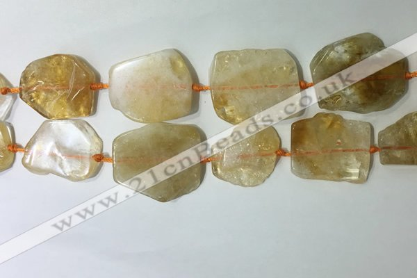 CNG7972 25*30mm - 35*45mm freeform citrine slab beads
