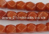 CNG811 15.5 inches 9*12mm faceted nuggets red aventurine beads
