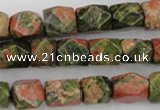 CNG821 15.5 inches 9*12mm faceted nuggets unakite gemstone beads