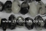 CNG856 15.5 inches 10*16mm faceted nuggets black rutilated quartz beads
