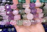 CNG8583 13*18mm - 15*20mm faceted nuggets mixed quartz beads