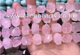 CNG8590 12*16mm - 13*18mm faceted nuggets rose quartz beads