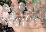 CNG8630 13*18mm - 15*25mm faceted freeform pink quartz beads
