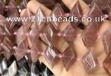 CNG8636 13*20mm - 15*25mm faceted freeform strawberry quartz beads