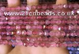 CNG8695 15.5 inches 6mm faceted nuggets strawberry quartz beads