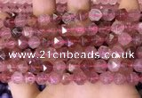 CNG8696 15.5 inches 8mm faceted nuggets strawberry quartz beads
